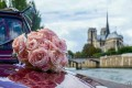 Bouquet of flowers on the 2CV in front of Notre Dame de Paris